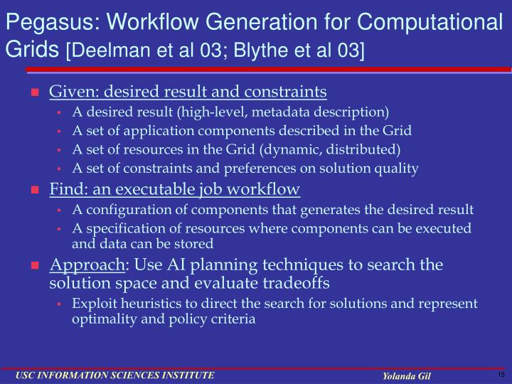 Pegasus: Workflow Generation for Computational Grids