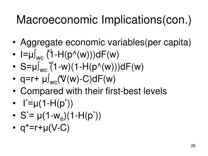 Macroeconomic Implications(con.)