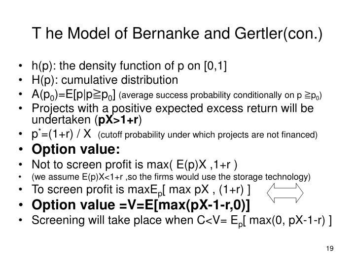 T he Model of Bernanke and Gertler(con.)