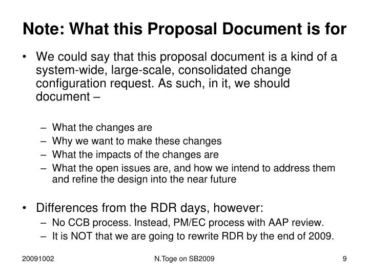 Note: What this Proposal Document is for