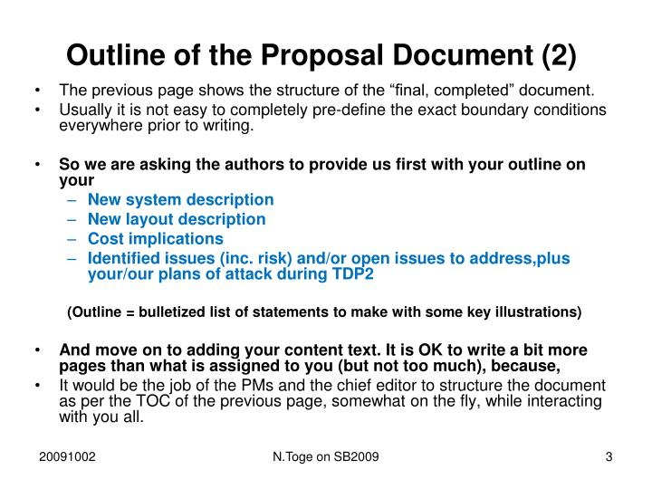 Outline of the Proposal Document (2)