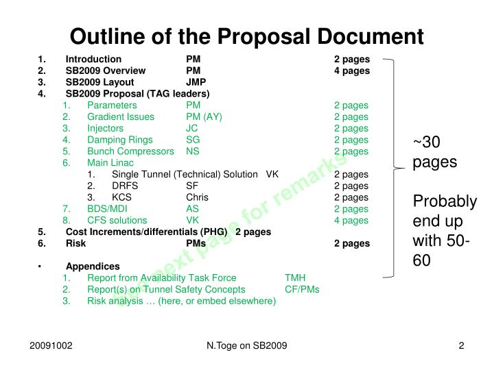 Outline of the Proposal Document