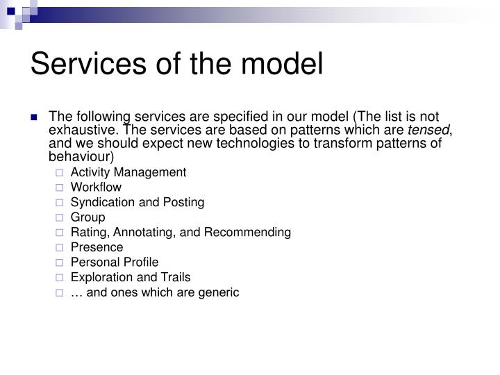 Services of the model