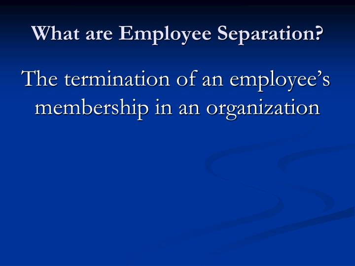 What are Employee Separation?