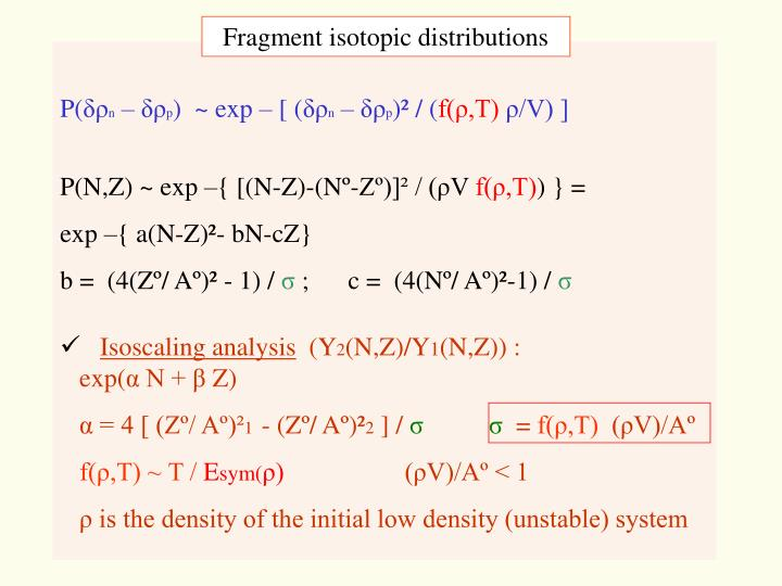 Fragment isotopic distributions