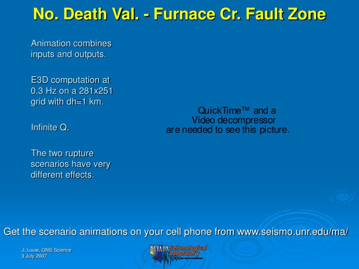 No. Death Val. - Furnace Cr. Fault Zone