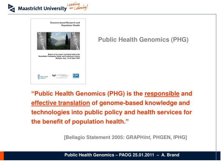 Public Health Genomics (PHG)