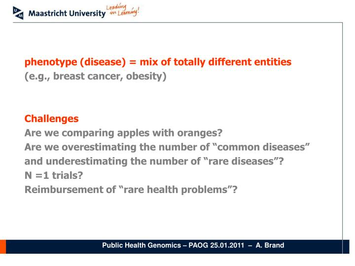 phenotype (disease) = mix of totally different entities
