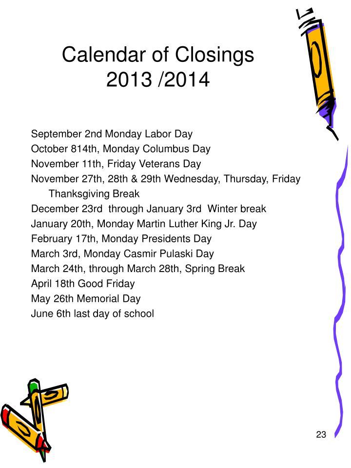 Calendar of Closings