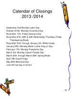 calendar of closings 2013 2014
