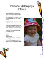 personal belongings infants