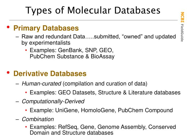 Types of Molecular Databases