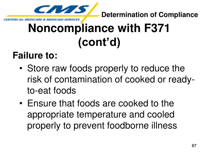 Noncompliance with F371