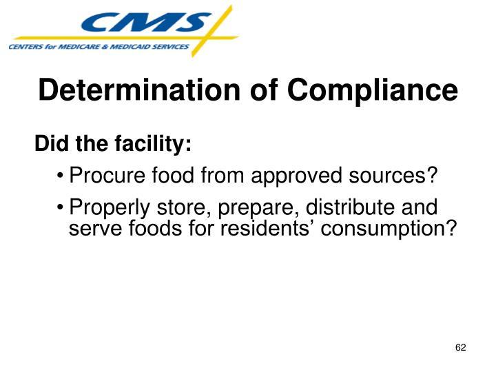 Determination of Compliance