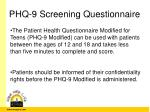 phq 9 screening questionnaire
