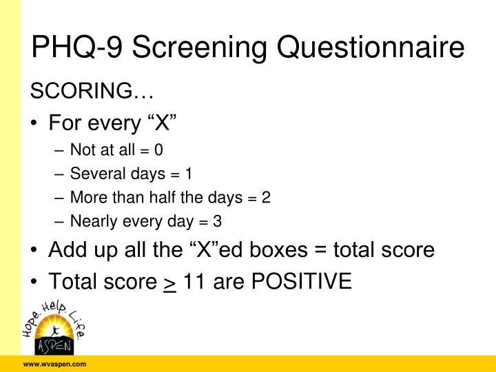 PHQ-9 Screening Questionnaire