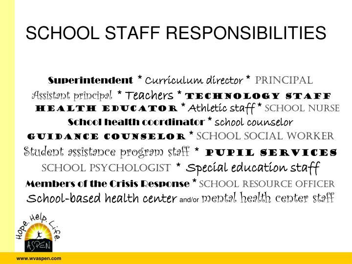 SCHOOL STAFF RESPONSIBILITIES