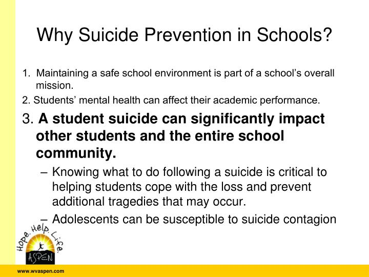 Why Suicide Prevention in Schools?