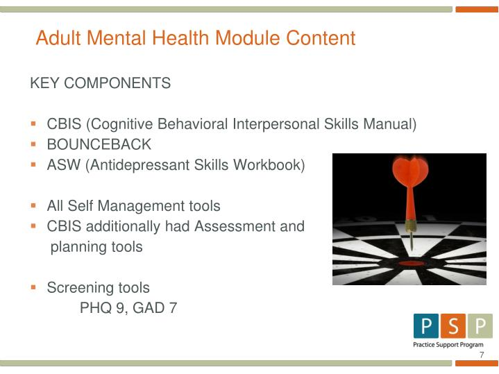 Adult Mental Health Module Content