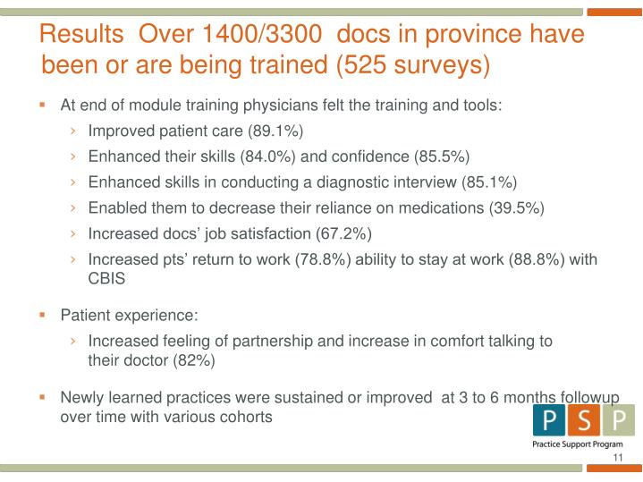 Results  Over 1400/3300  docs in province have been or are being trained (525 surveys)