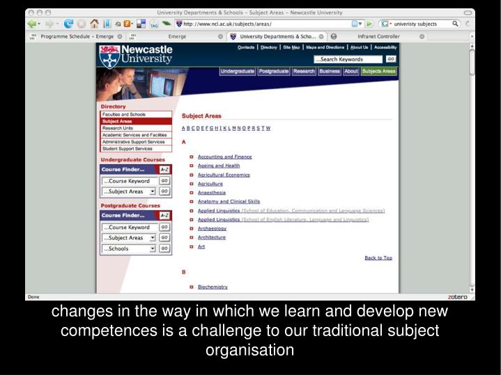 changes in the way in which we learn and develop new competences is a challenge to our traditional subject organisation
