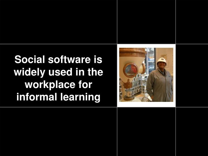 Social software is widely used in the workplace for informal learning