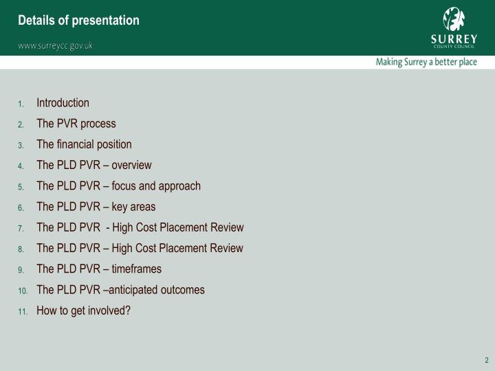 Details of presentation