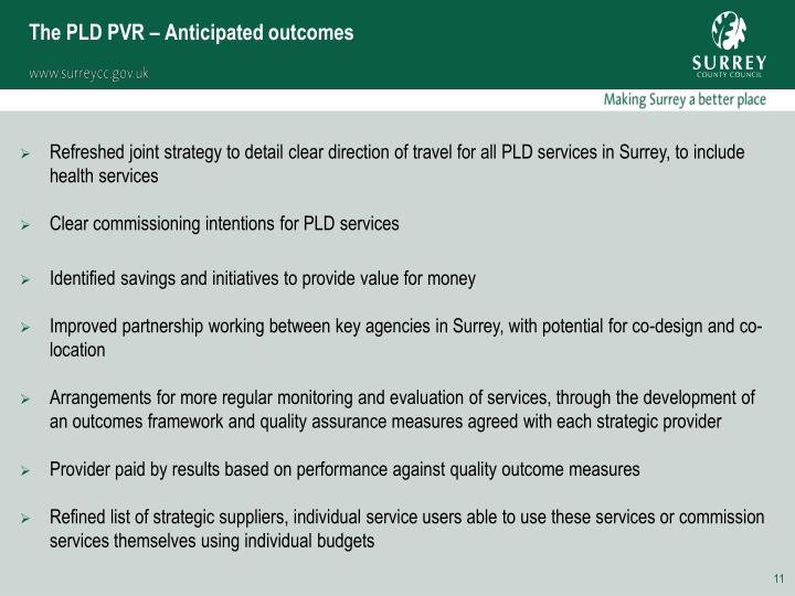 The PLD PVR – Anticipated outcomes