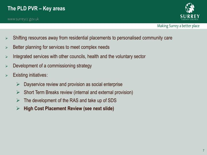 The PLD PVR – Key areas