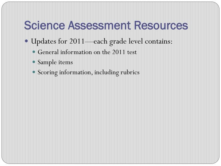 Science Assessment Resources