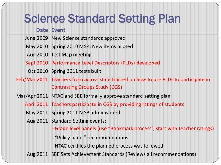 Science Standard Setting Plan