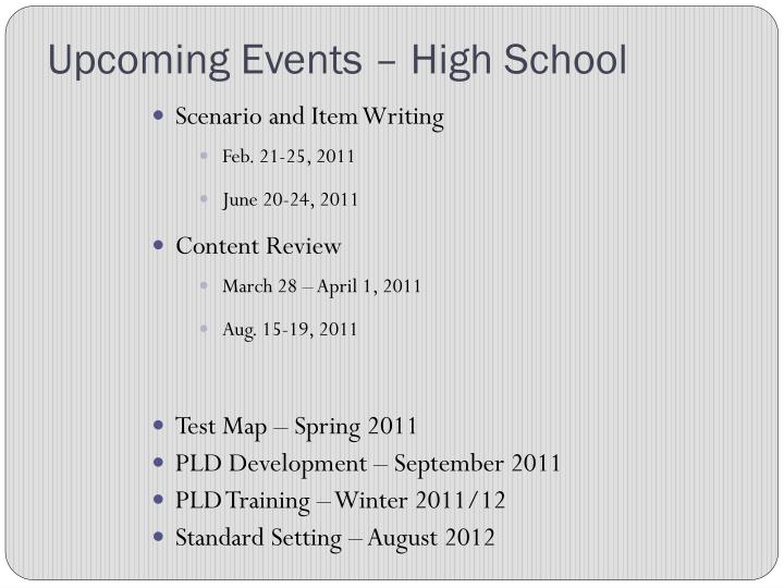 Upcoming Events – High School