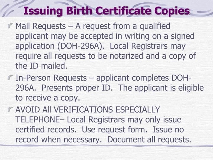 Issuing Birth Certificate Copies