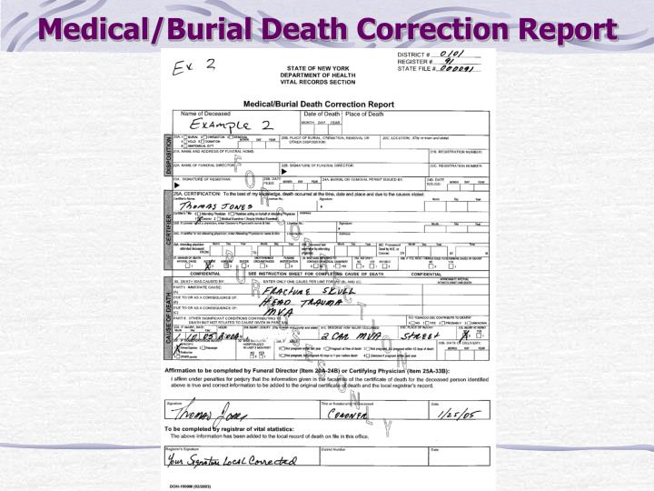 Medical/Burial Death Correction Report
