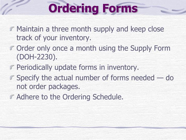 Ordering Forms