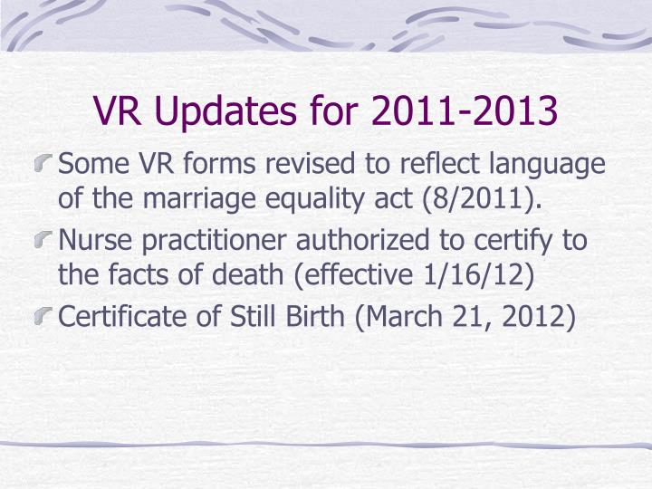 VR Updates for 2011-2013