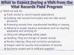 what to expect during a visit from the vital records field program