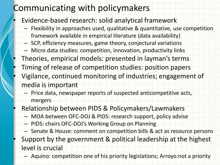 Communicating with policymakers