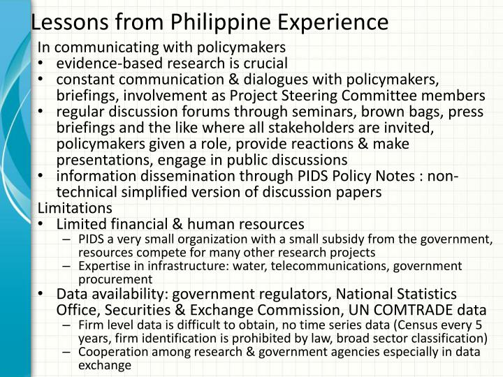 Lessons from Philippine Experience
