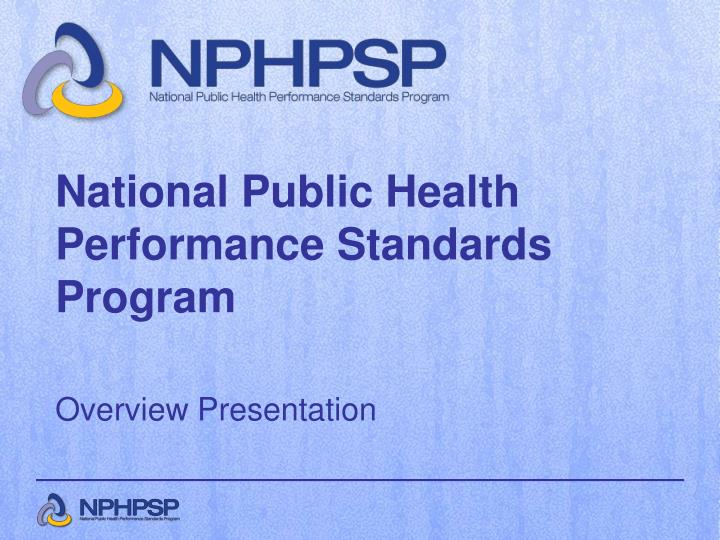 National Public Health Performance Standards Program