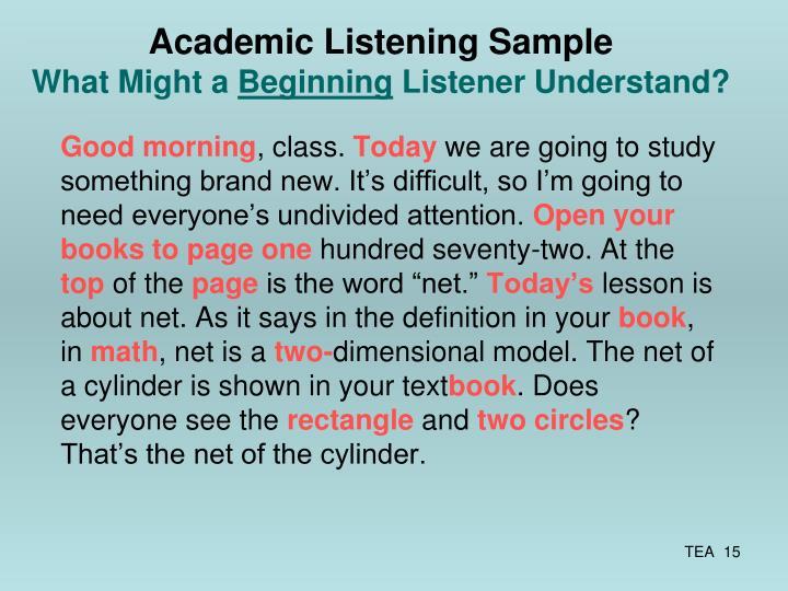 Academic Listening Sample