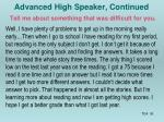 advanced high speaker continued