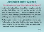 advanced speaker grade 2
