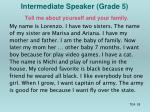 intermediate speaker grade 5