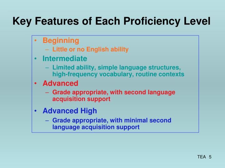Key Features of Each Proficiency Level