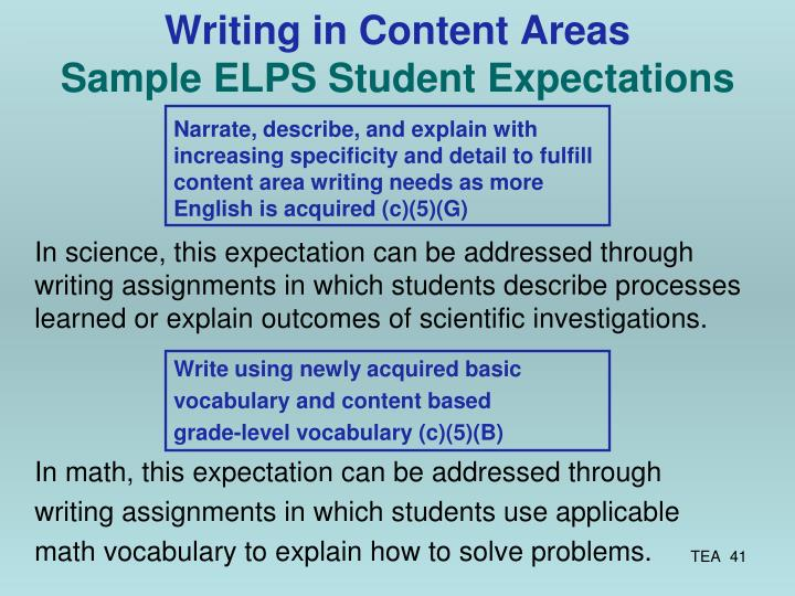Writing in Content Areas