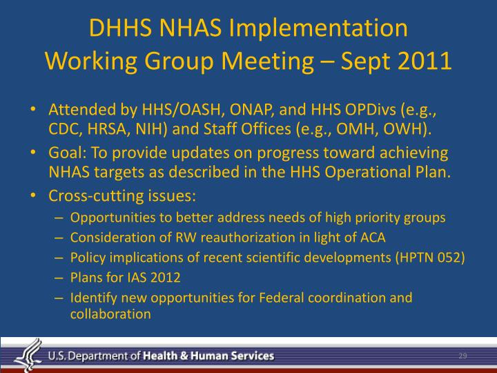DHHS NHAS Implementation