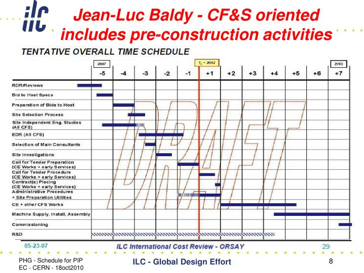 Jean-Luc Baldy - CF&S oriented includes pre-construction activities