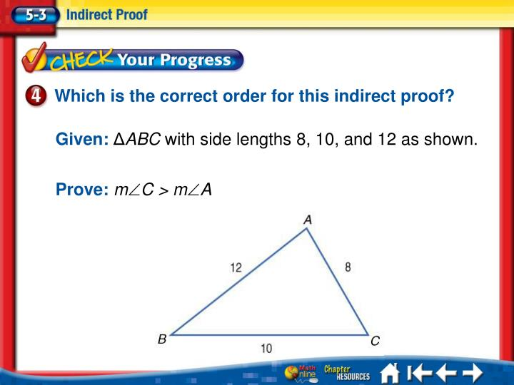Which is the correct order for this indirect proof?