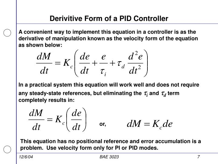 Derivitive Form of a PID Controller